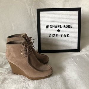 Michael Kors taupe suede/rubber booties